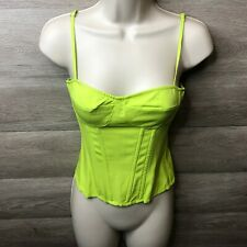 PrettyLittleThing PLT Womens Size 2 Lime Structured Corset Top NEW
