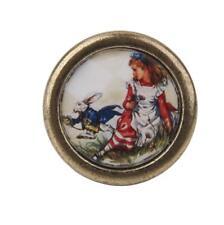 Poignée Bouton de Porte Tiroir Placard Ancienne en Métal - Fille et Lapin