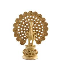 Statuette oiseau figurine roue du paon en dentelle de bois -inde - GG