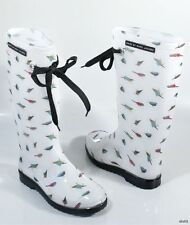 new MARC JACOBS miss Marc BIRDS white rubber TALL RAIN BOOTS 35 5 made in Italy