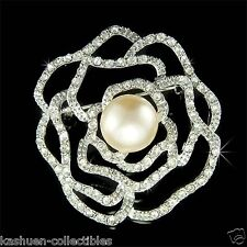 w Swarovski Crystal ~Cream White Pearl Cutout Rose Flower~ Floral Bouquet Brooch