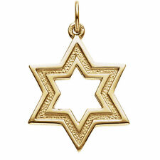 14K Yellow Gold Star Of David Pendant - Made in the Holy Land