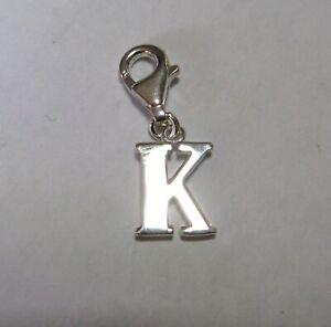 Sterling Silver Clip on Letter K Charm 1.6g