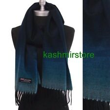 New 100% CASHMERE SCARF SOLID Navy Blue Fade Plaid MADE IN SCOTLAND SOFT UNISEX