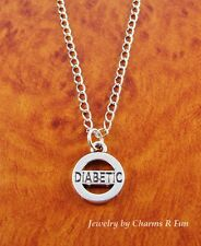Diabetic necklace medical silver plated pendant with stainless steel chain