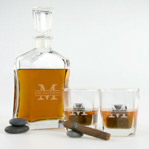 Birthday Personalised Engraved Whiskey Decanter Scotch Glasses Set Present Gift