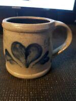 Vintage Primitive Rowe Pottery Mug Heart Design Stamped and Dated 1998
