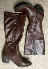 NICOLE WOMEN'S Brown FASHION  BOOTS Sz 8.5 M High Heel Side Zip Debbie Design