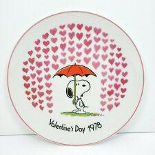 "Snoopy Peanuts Schmid Valentine's Day Raining Hearts Plate 7 1/2"" Japan 1978"