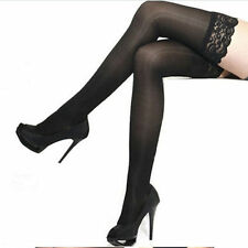 Sexy Women Sheer Lace Top Stay Up Stockings Thigh High Pantyhose Holdup Black