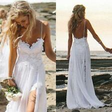 2018 Sexy Beach Bride Party Prom Wedding Dresses Backless Lace Stock Size 4-16W