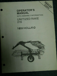 New Holland Operators Manual 216 Unitized rake with assembly instructions