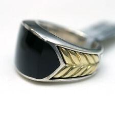 DAVID YURMAN Mens NEW Sterling Silver 18K Gold Black Onyx Inlay Chevron Ring 10