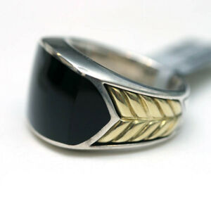 DAVID YURMAN Mens NEW Sterling Silver 18K Gold Black Onyx Chevron Ring 10.25