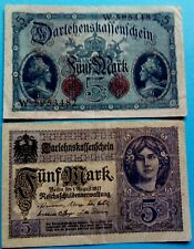 Paper Money  5 Mark 1917, 5 Mark 1914  Germany