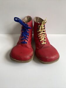 Red Leather Clown Shoes  One Size Costume Prop Halloween Needs TLC Or DIY