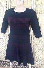 MONSOON Size 14 Black Jumper Dress Knit Tunic Dark Red Nordic Patterns Knee Leng