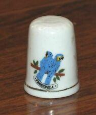 Unbranded Venezuela Blue Parrots Ceramic Collectible Souvenir Thimble!
