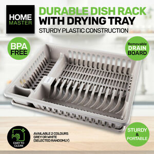 Home Master Dish & Cutlery Rack With Draining Tray Sturdy Compartments