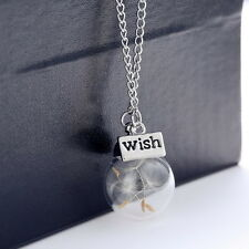 Fashion Natural Dried Flowers Crystal Necklace Women Vogue Time Silver Necklace