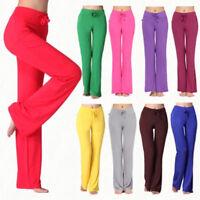 Womens Flared Wide Leg Palazzo Harem Pants Solid Yoga Loose Trousers Leggings LC