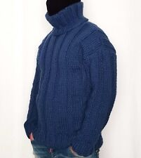 Hand knitted 100% WOOL sweater turtleneck elastic mens woolen THICK pullover