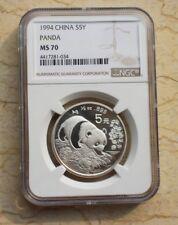 NGC MS70 China 1994 Silver 1/2 Oz Panda Coin