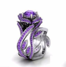 Gorgeous Lotus Women 925 Silver Six Colors Gemstone Wedding Ring Size 6-10