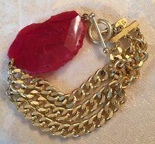 Oia & Jewelmint Bracelet Pink Agate, 3 Gold Link Bracelets & Toggle Closure NEW