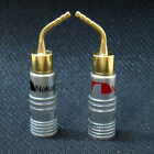 2X 24k Gold-plate Brass Speaker Wire Nakamichi Pin Connectors Banana Plug New