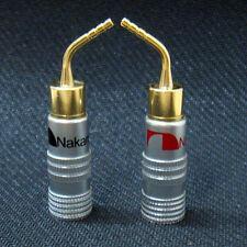 10x 24k Gold-plate Speaker Wire Nakamichi Pin Connectors Banana Plug Brass