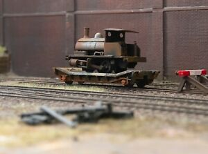 OO gauge abandoned lowmac with Pug loco load, heavily rusted and weathered