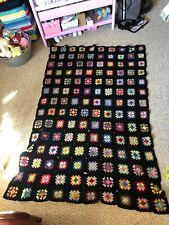 "Vintage Crochet Afghan Granny Squares Throw Lap Blanket Handmade Black 50"" X 74"""