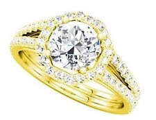 2.21 ct total Round Diamond Halo Engagement 14k Yellow Gold Ring 1.5 ct center