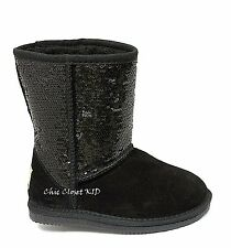 Little JR Youth Girls Ankle Sequin Glitter Sparkling Boots Mid Calf Winter Fur