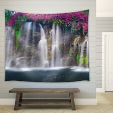 Bouquet Purple Flowers Framing a Big Waterfall - Fabric Tapestry - 68x80 inches