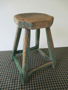 Antique Stool Primitive Handcrafted Old Green Paint Splayed Legs Octagonal Seat