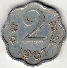 1967 INDIA 2 PAISE ALUMINUM  WORLD COIN NICE!