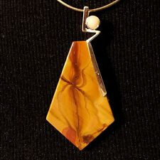 Natural Brown Wonderstone Gemstone Pendant with Peruvian Opal in Silver Plate