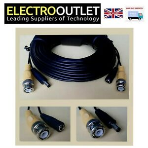 15m- 30m CCTV BNC & Power Cable Security Camera Video Record Extension Lead