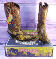 Durango Crush Womens Western Scalloped Boots Faux Snakeskin Embroidered Size 7.5