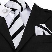 Classic White Black Striped Tie Set Silk Mens Business Formal Necktie Jacquard