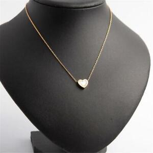 Michael Kors Logo Heart Pendant Necklace Gold Tone