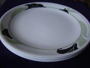 "4  Black Orchid Corelle 10 1/4"" Dinner Plates"