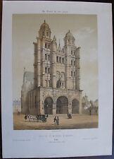 EGLISE SAINT MICHEL DE DIJON. LITHOGRAPHIE CIRCA 1850 PAR DESTOUCHES