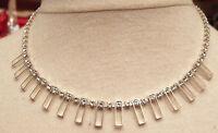 Collier bijou vintage art déco couleur argent cristaux diamant swarovski R