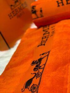 HERMES Paris Beach Towel Set of 2 Cotton 100% Orange color hermes logo rare.