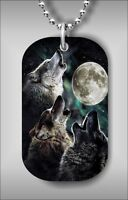 WOLVES MAGIC NIGHT DOG TAG NECKLACE df54