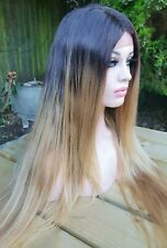 Human Hair, Auburn, Golden Light Brown Blonde Wig, Ombre Dark Roots Lace Wig