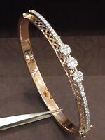 Pave 0,85 Cts Natürliche Diamanten Armreif Bracelet In Hallmark 14 Karat Gold